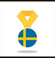 medal with the sweden flag isolated on white vector image vector image