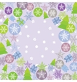 Merry Christmas Card green lilac and purple Round vector image vector image