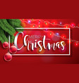 merry christmas on red background vector image vector image