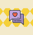 message box and heart icons vector image