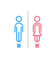 minimal thin line blue and pink wc icon vector image vector image