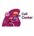 modern call center design in flat style vector image vector image