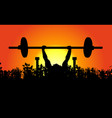 morning weightlifter in natural landscape sunrise vector image vector image