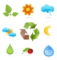 nature green symbols set vector image vector image