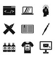 network job icons set simple style vector image vector image
