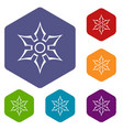 ninja shuriken star weapon icons set hexagon vector image vector image