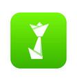 origami tulip icon green vector image