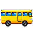pixel yellow bus detailed isolated vector image vector image