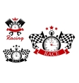 Racing icons templates with sport items vector image vector image