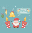 santa candles bell ball snowflakes happy holiday vector image