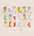 set colored doodle christmas gift socks on vector image