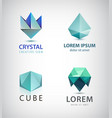 set of crystal faceted abstract logo vector image