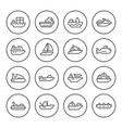 set round line icons water transport vector image