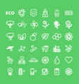 set white eco icons on green in flat vector image