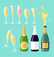 several champagne flat vector image