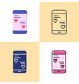 smartphone mobile chat with love messages icon set vector image vector image