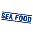 square grunge blue sea food stamp vector image vector image