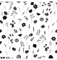 Stylized seamless pattern with contour flowers and vector image