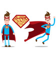 super dad a thin man in a superhero costume a vector image vector image