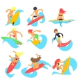 Surfing People Set vector image