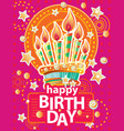 template for card with birthday cake and candles vector image vector image