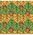 Seamless pattern with leaves and acorns vector image