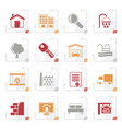 stylized real estate icons vector image