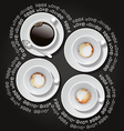 4 cups of hot coffee vector image