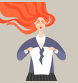 a red-haired cartoon girl tearing a sheet paper vector image