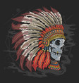apache american indian skull head tattoo artwork w vector image