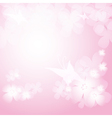 Background with pink flowers and butterfies vector image