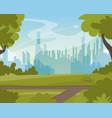 beautiful green summer city park landscape view vector image
