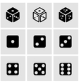 black dice icon set vector image vector image