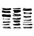 black ink grunge brush set strokes on white vector image