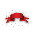 blank red realistic curved paper banner with snow vector image