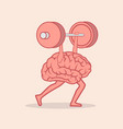 brain lifting weights over head vector image vector image