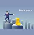 business man walk financial chart bar to coin vector image