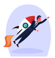 businessman flying rocket male successful startup vector image vector image