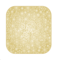 Button square Christmas with snowflakes vector image vector image