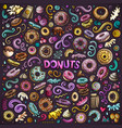 cartoon set of donuts objects and symbols vector image vector image