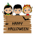 children dressed as halloween vector image vector image