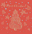 christmas greeting card with doodle style objects vector image vector image