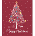 christmas tree line happy christmas card vector image vector image