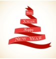 christmas vintage greeting card with tree vector image vector image