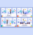 cleaning company services flat banners set vector image