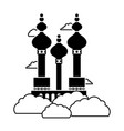 contour moscow travel vation site with clouds vector image
