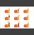 cute cartoon snails showing different emotions set vector image vector image