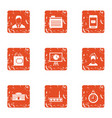 decline of work icons set grunge style vector image vector image