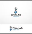 dna lab logo template design vector image vector image