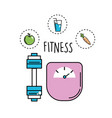 dumbbell and healthy weight with icons vector image vector image